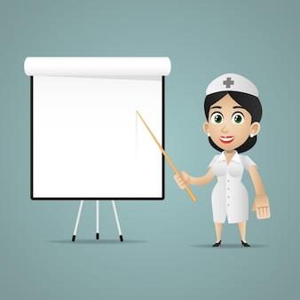 Illustration, krankenschwester punkte auf flipchart, format eps 10