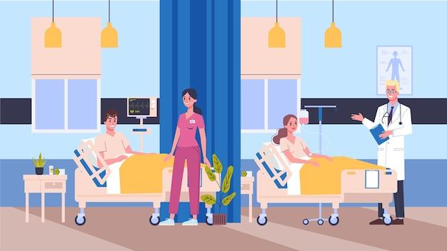 Illustration krankenzimmer. arzt und krankenschwester checkinf patienten. konzept der medizinischen versorgung.