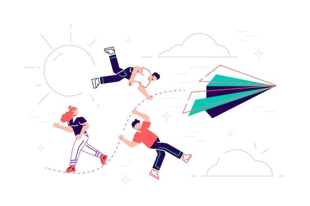 Illustration, leistungskonzept, eine gruppe von menschen, die sich an einem faden aus einem papierflugzeug festhalten, bewegen sich auf das ziel zu. flache art moderne designillustration für webseite, karten, plakat