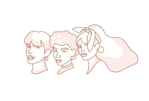 Illustration lineare gesichtsporträts der jungen frau - frauenpower und feministische bewegung.