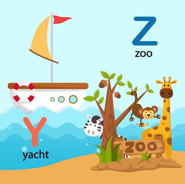 Illustration lokalisierte alphabet-buchstabe y-yacht, z-zoo