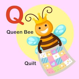 Illustration lokalisierter tieralphabet-buchstabe q-quilt, bienenkönigin