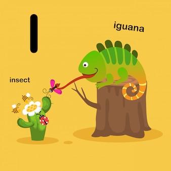 Illustration lokalisiertes tieralphabet-buchstabe i-insekt, leguan vektor