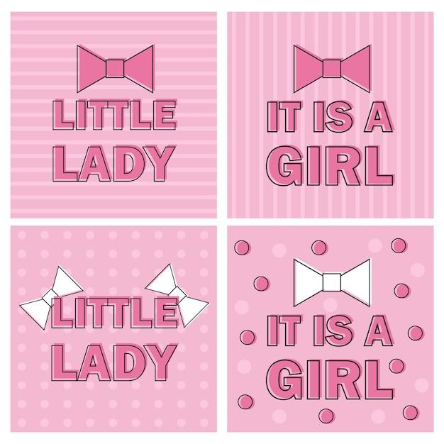 Illustration mädchen-babyparty-einladungs-karte mit rosa schleife-band - vektor - es ist ein mädchen, kleine dame - satz von vier karten