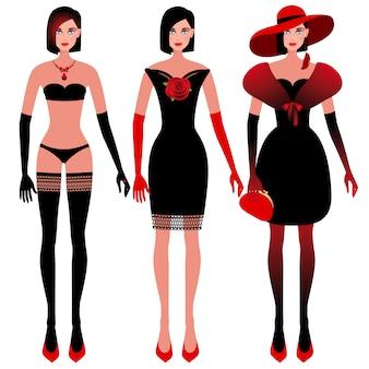 Illustration - mädchen in eleganten kleidern.