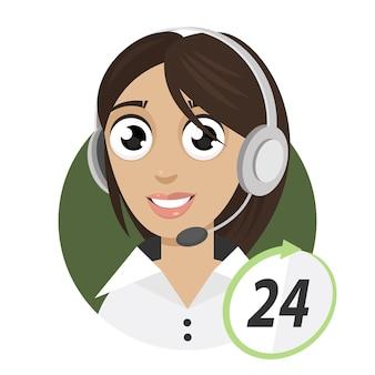 Illustration mädchen telefonistin, call center 24, format eps 10