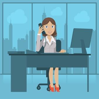 Illustration mädchensekretärin spricht per telefon, format eps 10