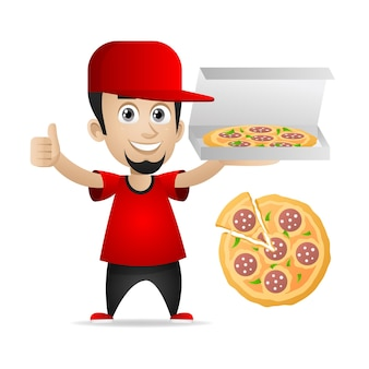 Illustration, mann hält pizza und zeigt daumen nach oben, format eps 10
