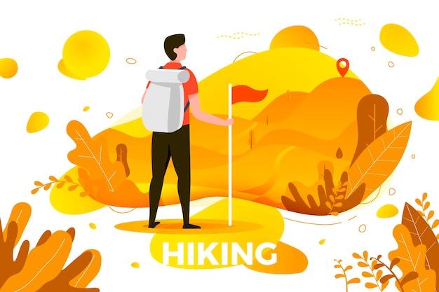 Illustration - mann mit blick auf die berggipfel. berge, bäume und hügel im hintergrund