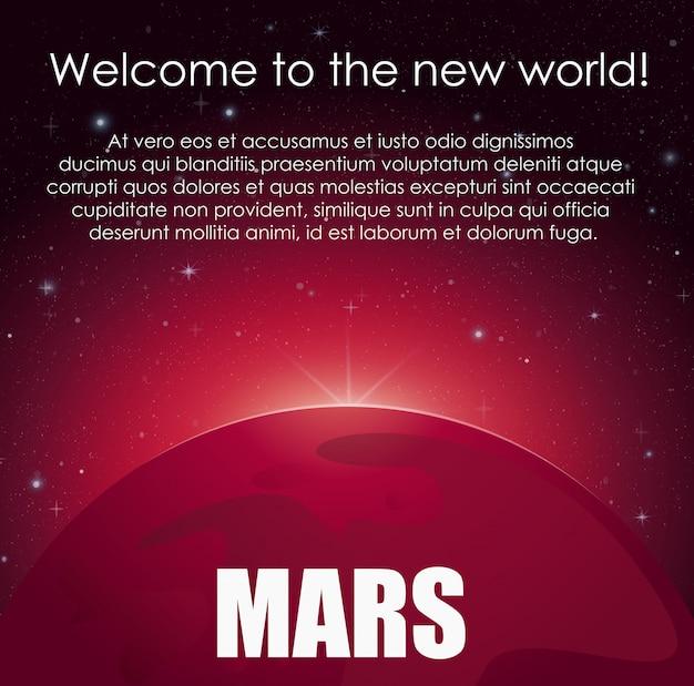 Illustration mars planet und heller stern dahinter im weltraum. abstrakter wissenschaftlicher hintergrund mit platz für text.