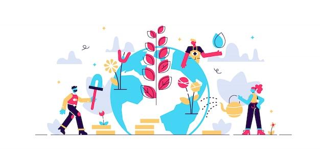 Illustration. menschen bauen pflanzen an, erledigen landwirtschaftliche arbeiten - bewässerung, sammeln, pflanzen, weltumwelttag, biotechnologie, grüner planet, globus mit darauf wachsenden bäumen, ökologie, co-system.