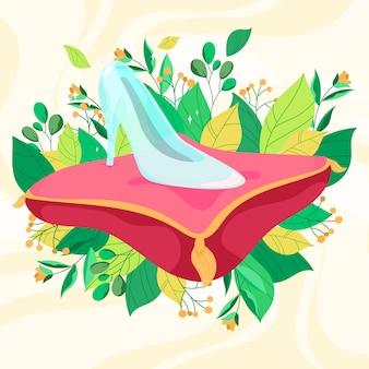 Illustration mit aschenputtelglasschuhthema