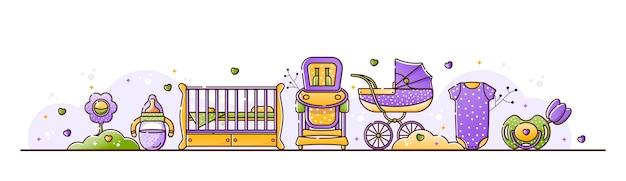 Illustration mit babyzubehör