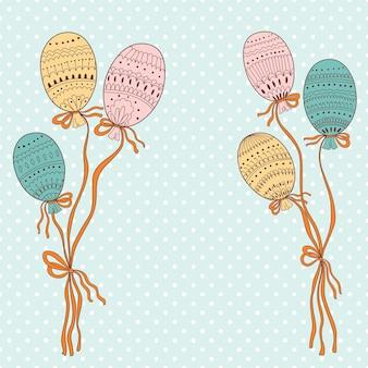 Illustration mit bunten fliegenden luftballons