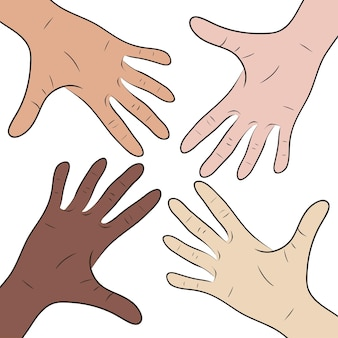 Illustration mit den händen von leuten verschiedener nationalitäten