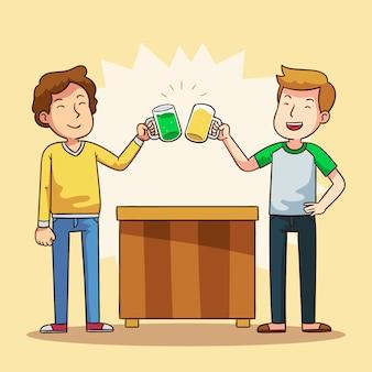 Illustration mit den röstenden freunden