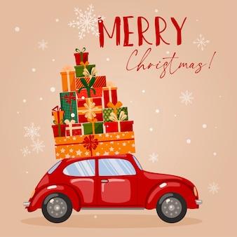 Illustration mit einem auto und verschiedenen kisten mit geschenken.