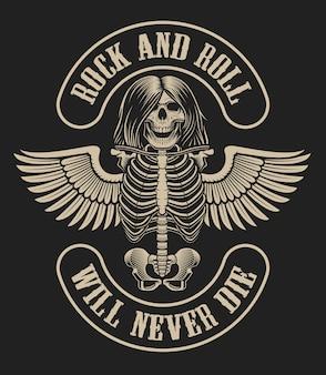 Illustration mit einem skelettcharakter mit flügeln im weinlesestil auf einem dunklen hintergrund über das thema der rockmusik.