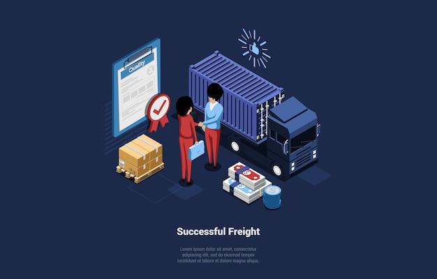 Illustration mit erfolgreichem frachtschreiben auf dunkelblau. gute frachttransportzusammensetzung