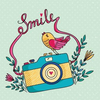 Illustration mit fotokamera und vogel