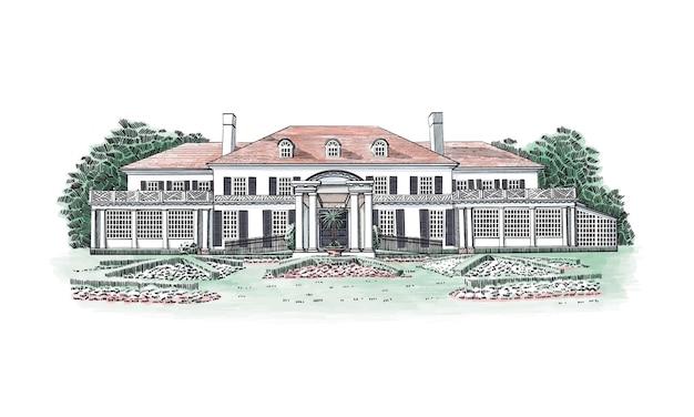 Illustration mit georgianischem herrenhaus, landgut. historisches gebäude mit kolonialer wiederbelebung mit walmdach und dachgauben im dritten stock. vor dem haus - schöne formale gärten