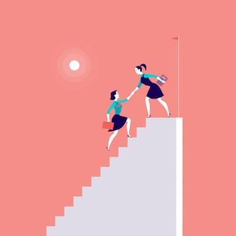 Illustration mit geschäftsdamen, die auf der spitze der weißen treppe klettern