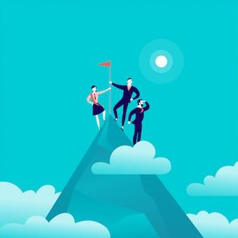 Illustration mit geschäftsleuten, die zusammen auf der spitze des berggipfels stehen