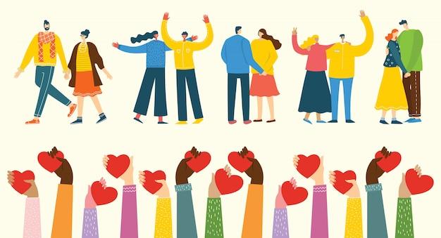 Illustration mit glücklichen karikaturpaaren in der liebe. glückliche liebhaber am date, umarmen, tanzen. konzept der valentinsgrußvektorillustration lokalisiert auf hellem hintergrund