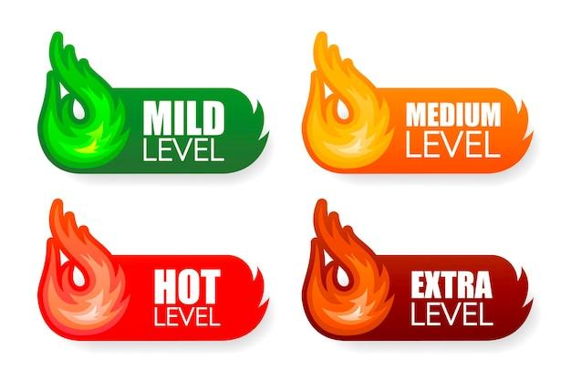Illustration mit glühend heißem level für konzeptdesign weißer hintergrund paprika-zeichen