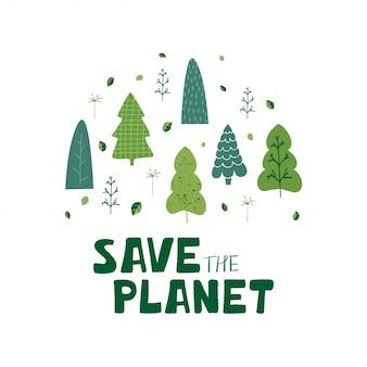Illustration mit grünen bäumen, blättern und handbeschriftung retten den planeten in der karikaturart.