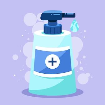Illustration mit händedesinfektionsmittel