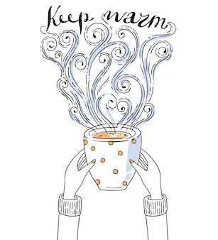 Illustration mit händen, die tasse kaffee halten. schriftzug