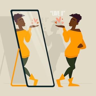 Illustration mit hohem selbstwertgefühl mit frau