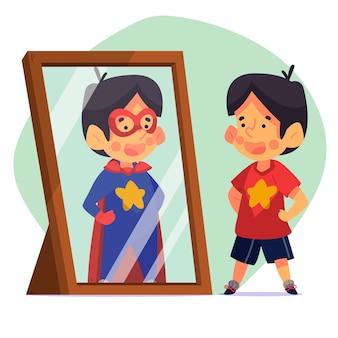 Illustration mit hohem selbstwertgefühl