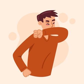 Illustration mit hustender person