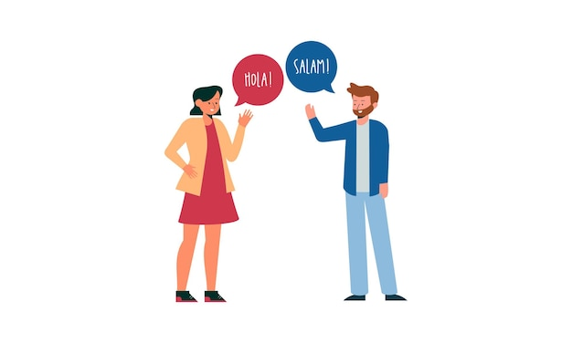 Illustration mit jungen leuten, die sprechen