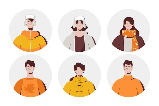 Illustration mit leuten, die herbstkleidung tragen