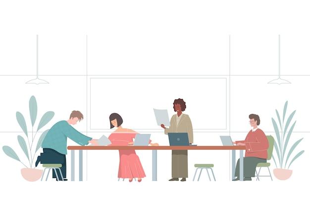 Illustration mit leuten, die im büro arbeiten. flache mitarbeitercharaktere.