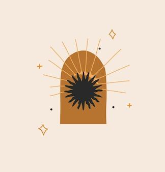 Illustration mit logo-element, böhmische magische linienkunst von sonnensilhouette, sternen und sonne