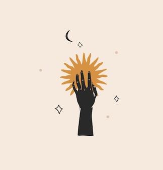 Illustration mit logoelement, minimalistische böhmische magische strichzeichnung der goldenen sonnensilhouette
