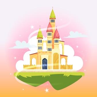 Illustration mit märchenschloss