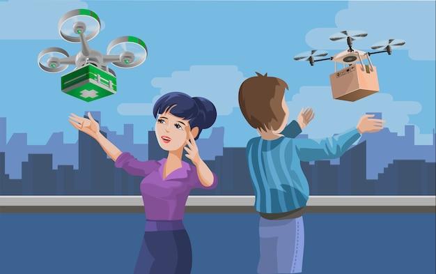 Illustration mit mann und frau, die paket erhalten, das durch quadcopter geliefert wird. konzept des drohnenlieferdienstes, innovative technologie in versand und logistik. kreative karikaturillustration