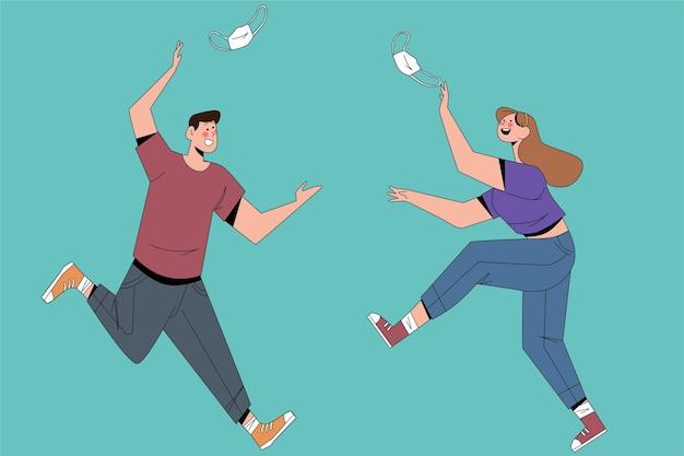 Illustration mit menschen, die sich nach selbstisolation treffen