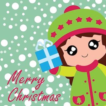Illustration mit niedlichen mädchen bringt xmas box geschenk passend für chritsmas kartenentwurf