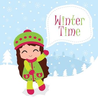 Illustration mit niedlichen mädchen und winter zeit text geeignet für chritsmas kartenentwurf