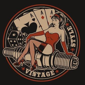 Illustration mit pin-up-girl auf einer zündkerze mit würfeln und spielkarten im vintage-stil. alle elemente und texte befinden sich in einer separaten gruppe.