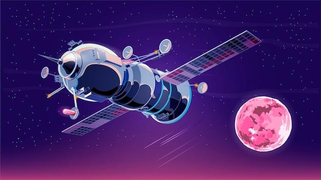 Illustration mit raumschiff satellit im weltraum mit mond. weltraumgeschichtsprogramm, menschliche erforschung des nahen weltraums.