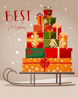 Illustration mit santas schlitten und geschenkboxen