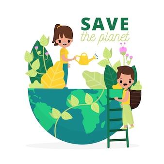 Illustration mit save the planet-konzept