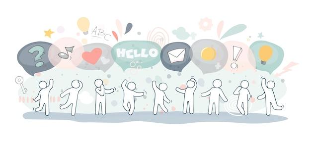 Illustration mit sprechblasen. comic hand gezeichnete fahnenschablone mit kleinen leuten, die in einer reihe stehen.